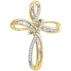 1/5 CTW Womens Round Diamond Cross Pendant 10kt Yellow Gold - REF-16X4T