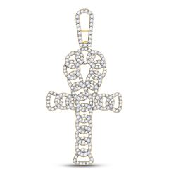 7/8 CTW Mens Round Diamond Ankh Cross Charm Pendant 10kt Yellow Gold - REF-61R4X