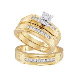 1/4 CTW His Hers Round Diamond Square Matching Wedding Set 10kt Yellow Gold - REF-47M6F