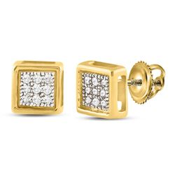 1/20 CTW Womens Round Diamond Square Earrings 10kt Yellow Gold - REF-9H5R