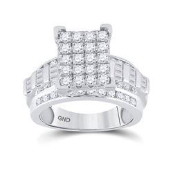 1 & 1/2 CTW Round Diamond Cluster Bridal Wedding Engagement Ring 10kt White Gold - REF-109Y2N