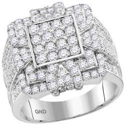 3 CTW Mens Round Diamond Square Cluster Ring 10kt White Gold - REF-204M5F