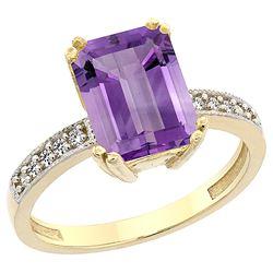 3.70 CTW Amethyst & Diamond Ring 14K Yellow Gold - REF-40M3A