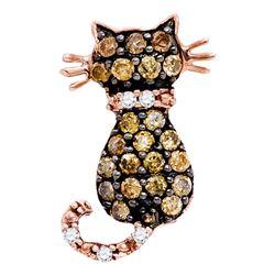 1/3 CTW Brown Diamond Womens Kitty Cat Feline Pendant 10k Rose Gold - REF-16R4X