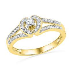 1/4 CTW Womens Round Diamond Heart Promise Ring 10kt Yellow Gold - REF-30T5V