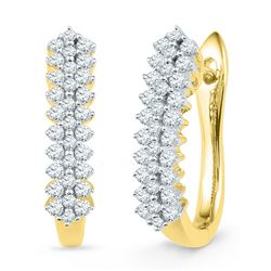 1/2 CTW Womens Round Diamond Oblong Hoop Earrings 10kt Yellow Gold - REF-43W6H