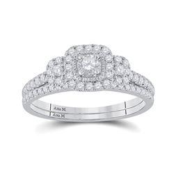 1/2 CTW Round Diamond Bridal Wedding Ring 14kt White Gold - REF-64M8F