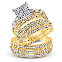 7/8 CTW His Hers Round Diamond Cluster Matching Wedding Set 10kt Yellow Gold - REF-74M9F