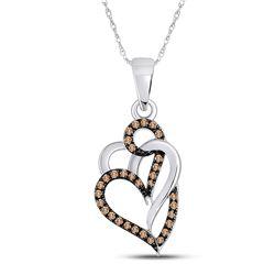 1/4 CTW Womens Round Brown Diamond Triple Heart Pendant 10kt White Gold - REF-13F5W