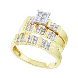 1/3 CTW His Hers Round Diamond Square Matching Wedding Set 10kt Yellow Gold - REF-34T3V
