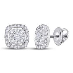 1/2 CTW Womens Princess Diamond Cushion Cluster Earrings 14kt White Gold - REF-51F8W