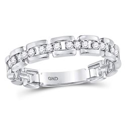 1/5 CTW Womens Round Diamond Rolo Link Stackable Band Ring 10kt White Gold - REF-22F5W