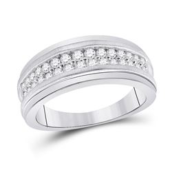 3/4 CTW Mens Round Diamond Double Row Band Ring 10kt White Gold - REF-81V7Y