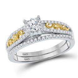 1/2 CTW Round Diamond Bridal Wedding Ring 10kt Two-tone Gold - REF-48X5T