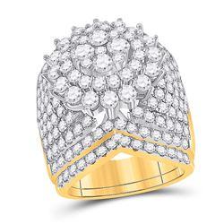 5 CTW Round Diamond Bridal Wedding Ring 14kt Yellow Gold - REF-409Y2N
