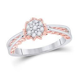 1/5 CTW Round Diamond Cluster Bridal Wedding Engagement Ring 10kt Two-tone Gold - REF-24Y5N