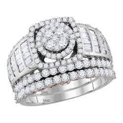 2 & 1/2 CTW Round Diamond Bridal Wedding Ring 14kt Two-tone Gold - REF-188Y2N