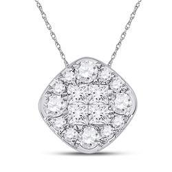 1 CTW Womens Princess Diamond Offset Square Cluster Pendant 14kt White Gold - REF-92X6T