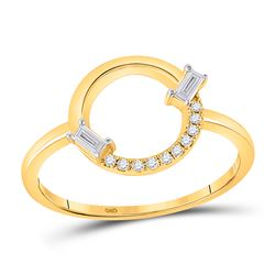 1/8 CTW Womens Baguette Diamond Outline Circle Ring 14kt Yellow Gold - REF-28N2A