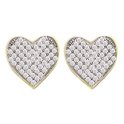 1/6 CTW Womens Round Diamond Heart Cluster Earrings 10kt Yellow Gold - REF-13A2M