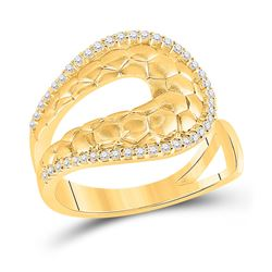 1/4 CTW Womens Round Diamond Scale Fashion Ring 14kt Yellow Gold - REF-47W6H