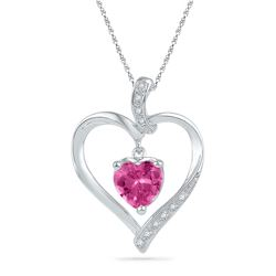 1 & 3/4 CTW Womens Round Lab-Created Pink Sapphire Heart Pendant 10kt White Gold - REF-12X2T