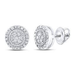 1/10 CTW Womens Round Diamond Cluster Earrings 10kt White Gold - REF-13A5M