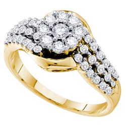 3/4 CTW Womens Round Diamond Flower Cluster Ring 14kt Yellow Gold - REF-79W3H