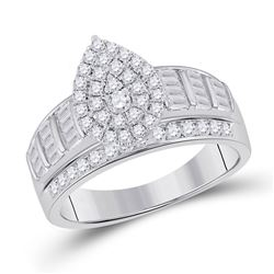 1 CTW Baguette Diamond Cluster Bridal Wedding Engagement Ring 10kt White Gold - REF-66N7A