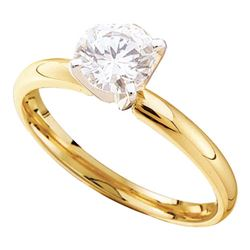 3/4 CTW Womens Round Diamond Solitaire Bridal Wedding Engagement Ring 14kt Yellow Gold - REF-121H5R