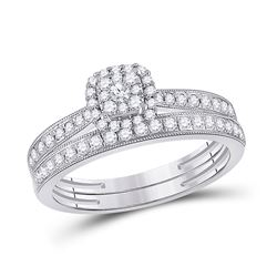1/2 CTW Round Diamond Bridal Wedding Ring Band Set 10kt White Gold - REF-51A2M