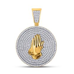 1 CTW Mens Round Diamond Praying Hands Circle Charm Pendant 10kt Yellow Gold - REF-99T2V