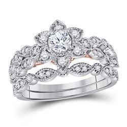 3/4 CTW Round Diamond Flower Bridal Wedding Ring 14kt Two-tone Gold - REF-115Y8N
