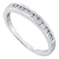 1/4 CTW Womens Round Diamond Single Row Fashion Band Ring 14kt White Gold - REF-30V5Y
