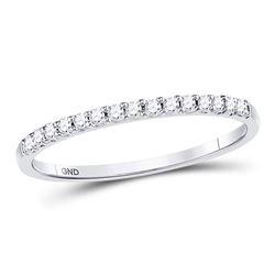 1/6 CTW Womens Round Diamond Wedding Single Row Band Ring 14kt White Gold - REF-19H6R