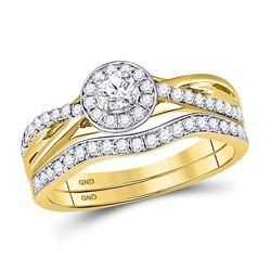 1/2 CTW Round Diamond Bridal Wedding Ring 14kt Yellow Gold - REF-70M8F