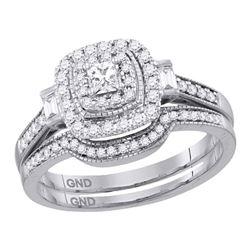1/2 CTW Princess Diamond Bridal Wedding Ring 14kt White Gold - REF-75R7X