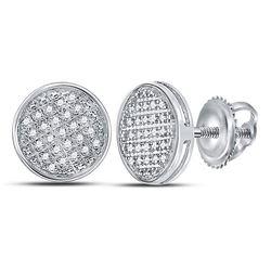 1/8 CTW Mens Round Diamond Circle Disk Cluster Earrings 10kt White Gold - REF-15V2Y