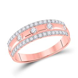 1/2 CTW Womens Round Diamond Anniversary Ring 10kt Rose Gold - REF-38F2W
