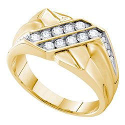 5/8 CTW Mens Round Diamond Square Cluster Ring 14kt Yellow Gold - REF-90T5V