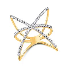 1/3 CTW Womens Round Diamond Negative Space Fashion Ring 10kt Yellow Gold - REF-25V9Y