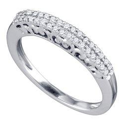 1/5 CTW Round Pave-set Diamond Womens Slender Bridal Wedding Band Ring 10k White Gold - REF-25V3Y