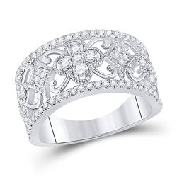 5/8 CTW Womens Round Diamond Filigree Fashion Ring 14kt White Gold - REF-83W7H
