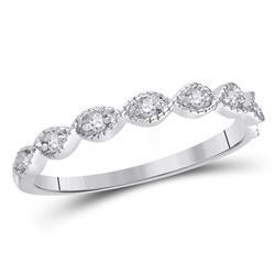 1/10 CTW Womens Round Diamond Classic Stackable Band Ring 14kt White Gold - REF-20Y5N