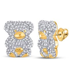1/2 CTW Womens Round Diamond Teddy Bear Animal Earrings 10kt Yellow Gold - REF-42F2W