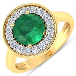Natural 2.38 CTW Zambian Emerald & Diamond Ring 14K Yellow Gold - REF-108K7W