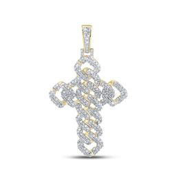1 & 3/4 CTW Mens Round Diamond Cuban Link Cross Charm Pendant 10kt Yellow Gold - REF-115H8R