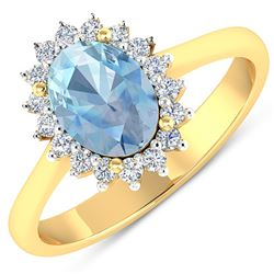 Natural 1.62 CTW Aquamarine & Diamond Ring 14K Yellow Gold - REF-55X3K