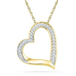 1/8 CTW Womens Round Diamond Heart Outline Pendant 10kt Yellow Gold - REF-9R5X