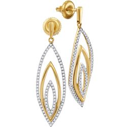 1/2 CTW Womens Round Diamond Marquise Dangle Earrings 10kt Yellow Gold - REF-40X8T
